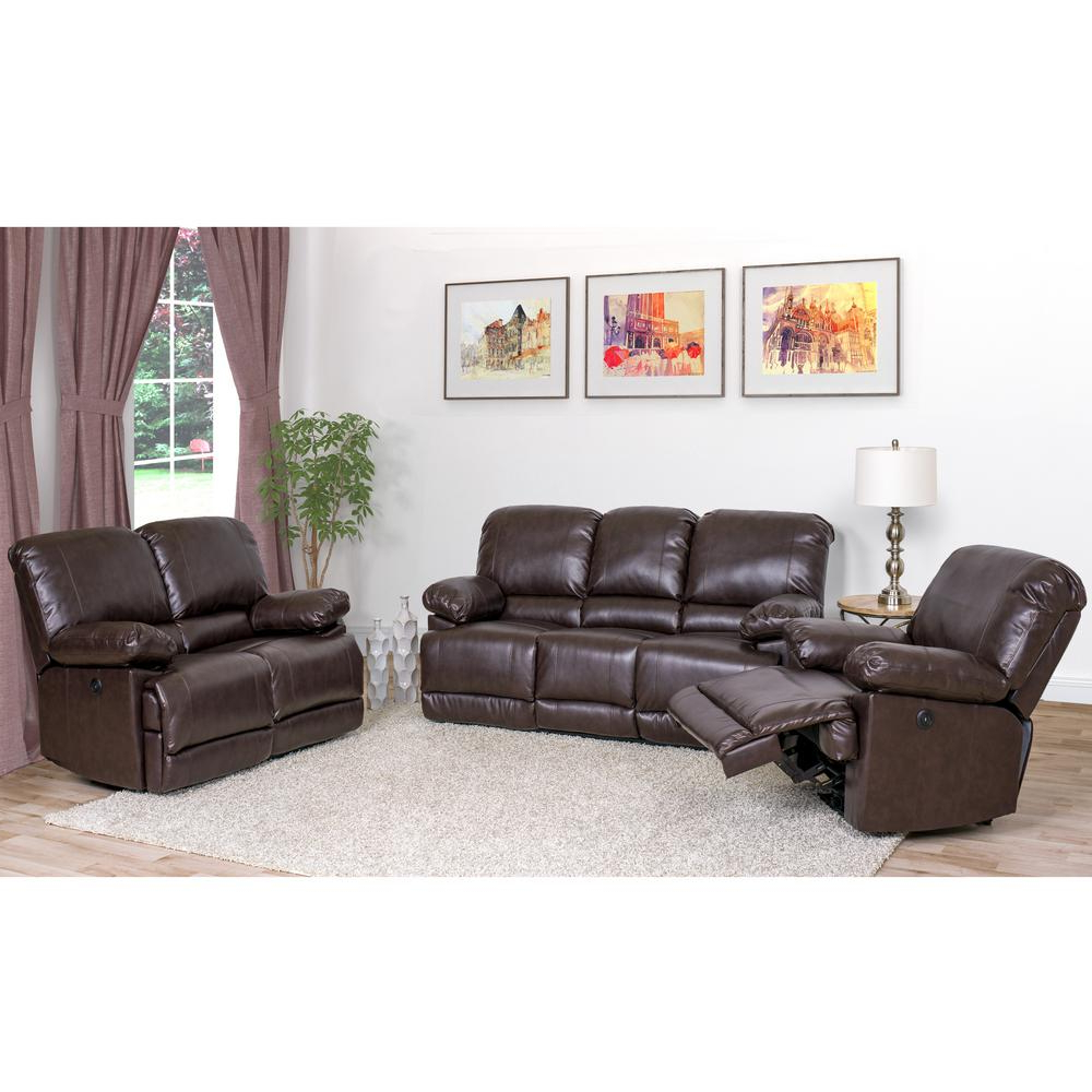 Well Known 3pc Bonded Leather Upholstered Wooden Sectional Sofas Brown Regarding Corliving Lea 3 Piece Chocolate Brown Bonded Leather Power (View 7 of 20)