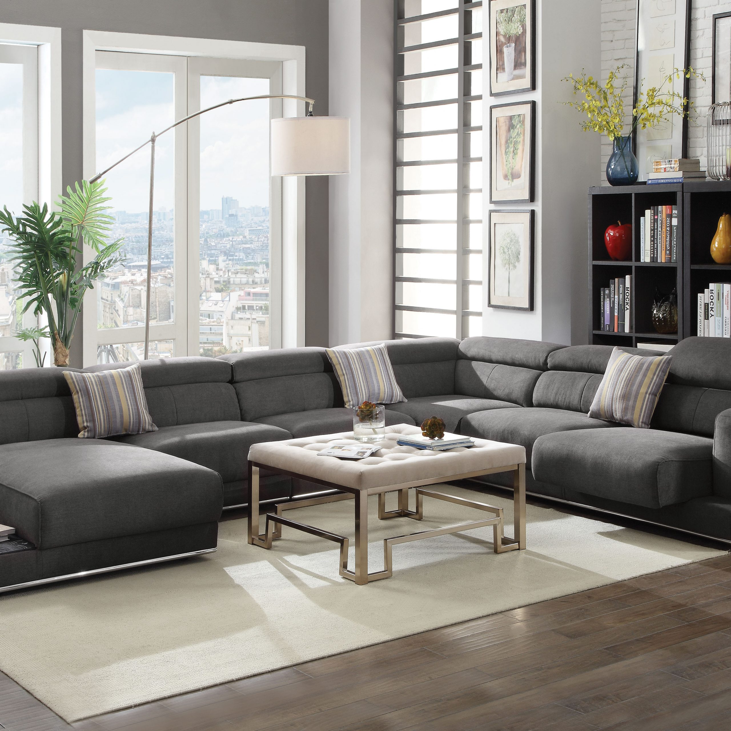 Well Known Acme Alwin Sectional Sofa In Dark Gray Fabric Upholstery For Polyfiber Linen Fabric Sectional Sofas Dark Gray (View 12 of 20)