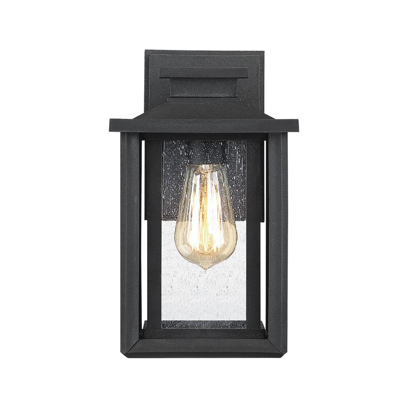 Well Known Ainsworth Earth Black Outdoor Wall Lanterns Intended For Alcott Hill® Higuchi Earth Black Seeded Glass Outdoor Wall (View 4 of 20)