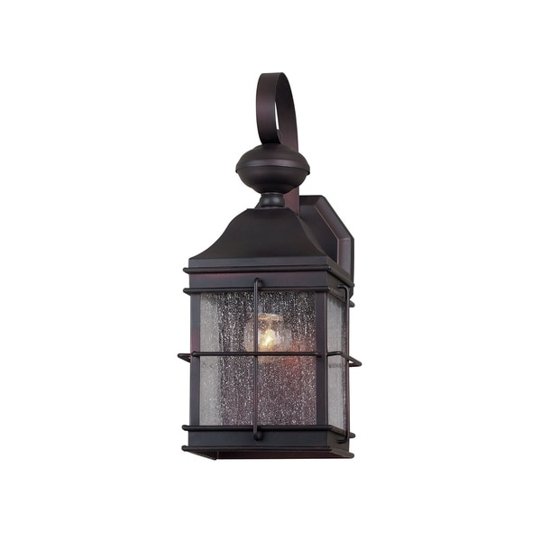 Well Known Anner Seeded Glass Outdoor Wall Lanterns Throughout 1 Light Antique Bronze Outdoor Wall Lantern With Clear (View 15 of 20)
