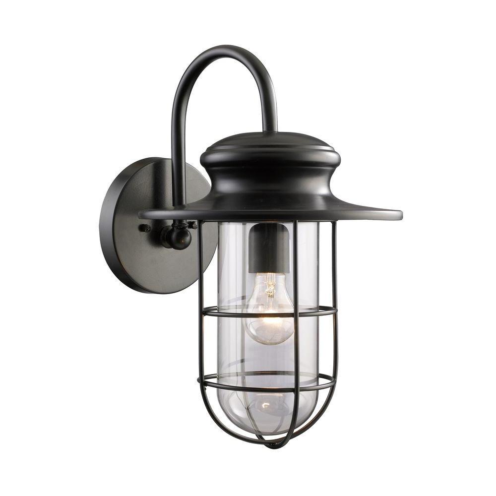 Well Known Armanno Matte Black Wall Lanterns Regarding Titan Lighting Portside 1 Light Outdoor Matte Black Wall (View 17 of 20)