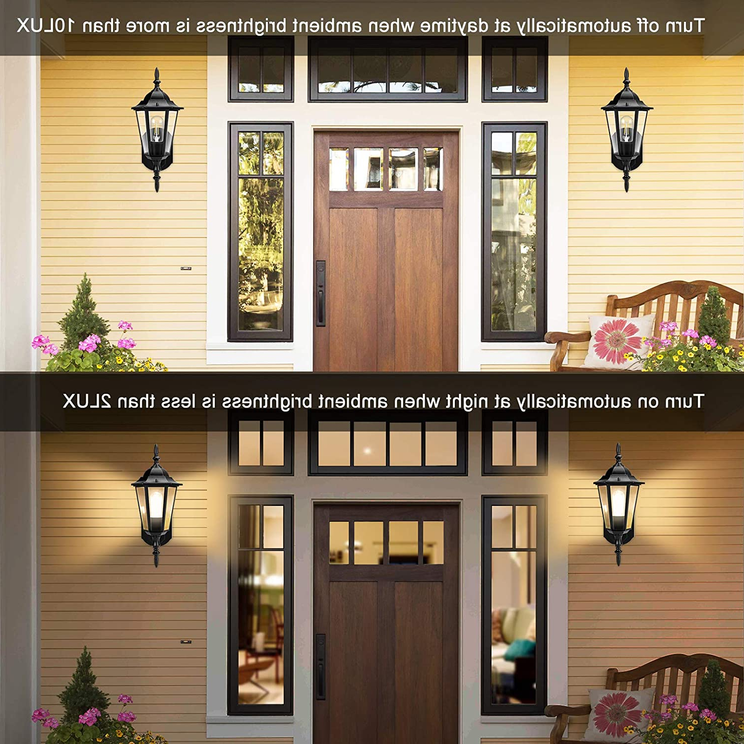 Well Known Ballina Matte Black Outdoor Wall Lanterns With Dusk To Dawn Regarding Outdoor Wall Light, Dusk To Dawn Outdoor Lighting Sensor (View 15 of 20)