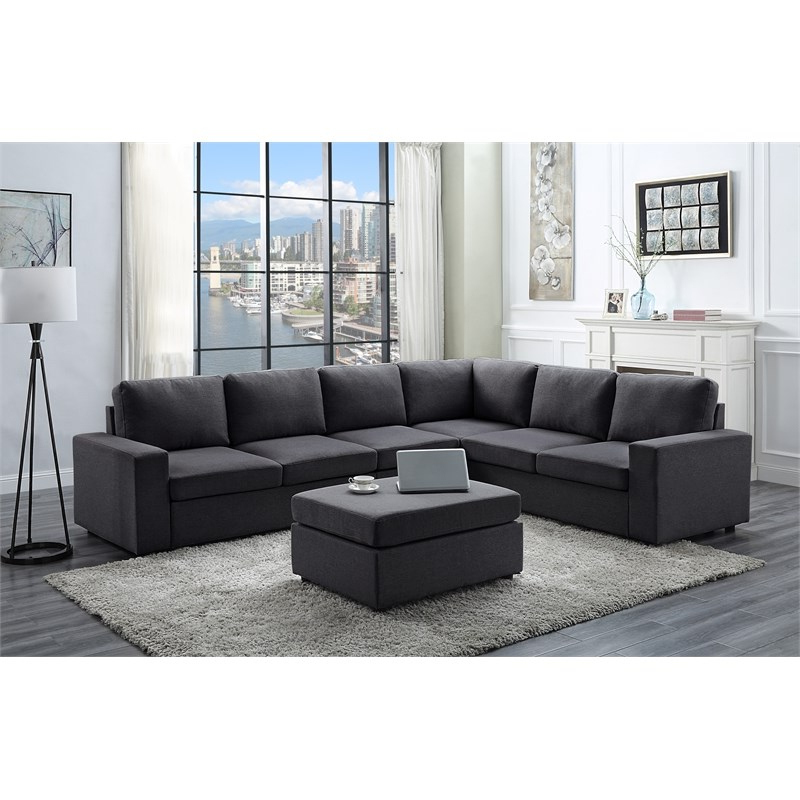 Well Known Bayside Modular Sectional Sofa With Ottoman In Dark Gray With Regard To Polyfiber Linen Fabric Sectional Sofas Dark Gray (View 9 of 20)