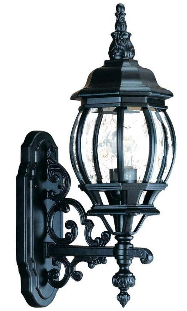 Well Known Black Cast Aluminum Outdoor Wall Lantern Clear Seeded Within Anner Seeded Glass Outdoor Wall Lanterns (View 18 of 20)