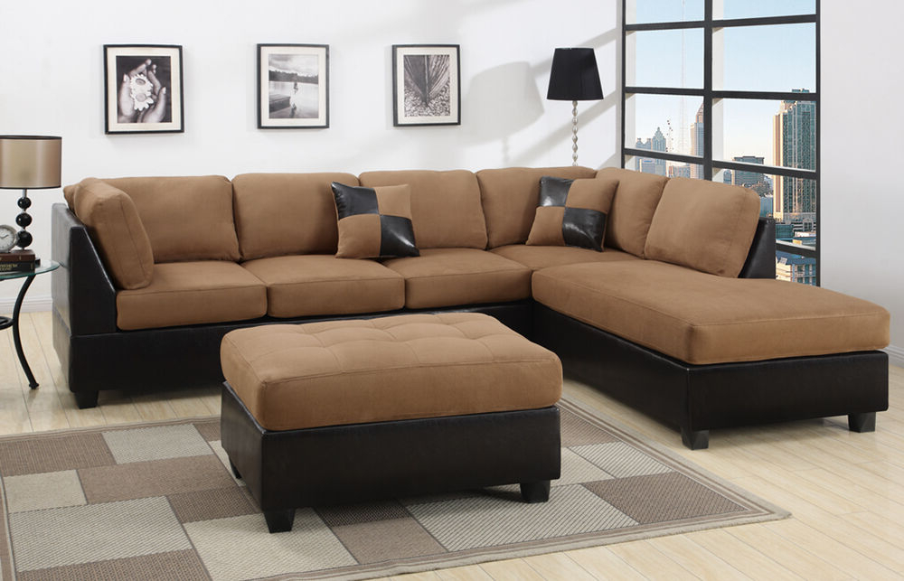 Well Known Bonded Leather All In One Sectional Sofas With Ottoman And 2 Pillows Brown In Sectional Sectionals Sofa Couch Loveseat Couches With Free (View 3 of 20)