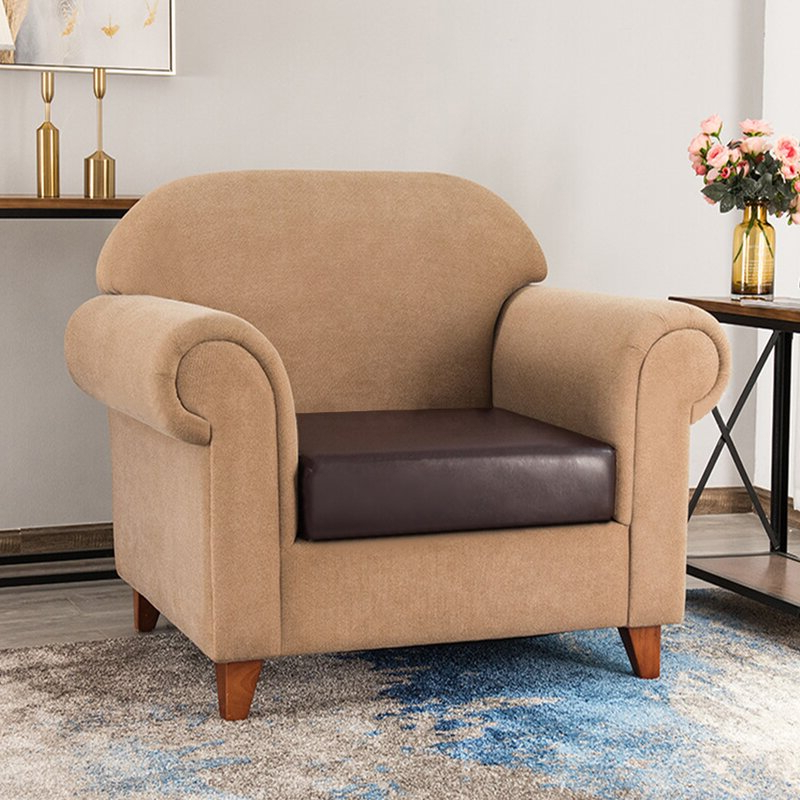 Well Known Bonded Leather All In One Sectional Sofas With Ottoman And 2 Pillows Brown With Regard To Latitude Run® Faux Leather Stretchy Sofa Seat Cushion (View 17 of 20)