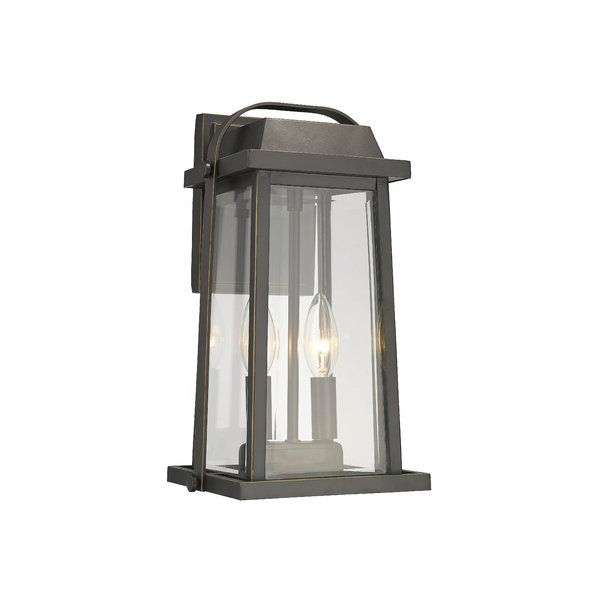 Well Known Charlton Home Haglund 2 Light Outdoor Wall Lantern Regarding Verne Oil Rubbed Bronze Beveled Glass Outdoor Wall Lanterns (View 15 of 20)