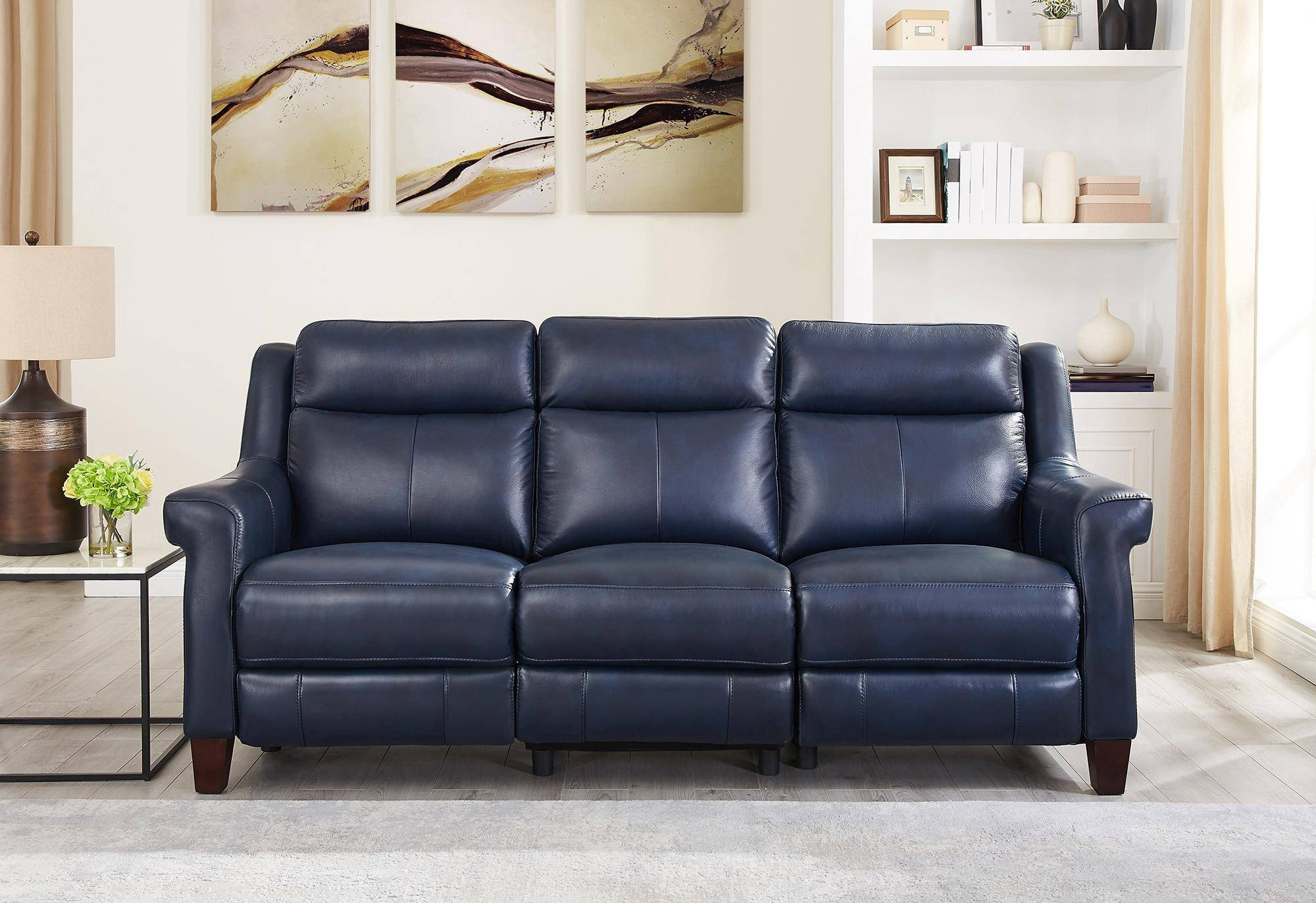 Well Known Chatham Blue Genuine Leather Power Reclining Sofa Loveseat For Power Reclining Sofas (View 4 of 20)