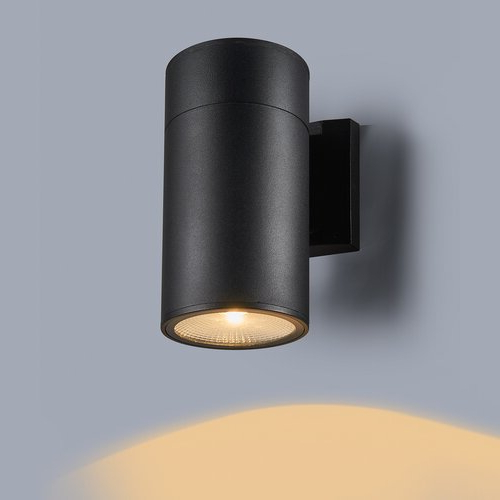 """Well Known Chazz Integrated Led Outdoor Armed Sconces Pertaining To Ebern Designs Aften Black 8"""" H Integrated Led Outdoor (View 4 of 20)"""