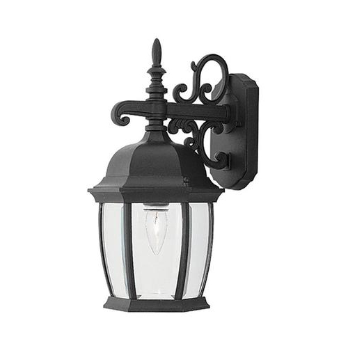 Well Known Designers Fountain Tiverton 16 In H Black Medium Base (e Inside Feuerstein Black 16'' H Outdoor Wall Lanterns (View 7 of 20)