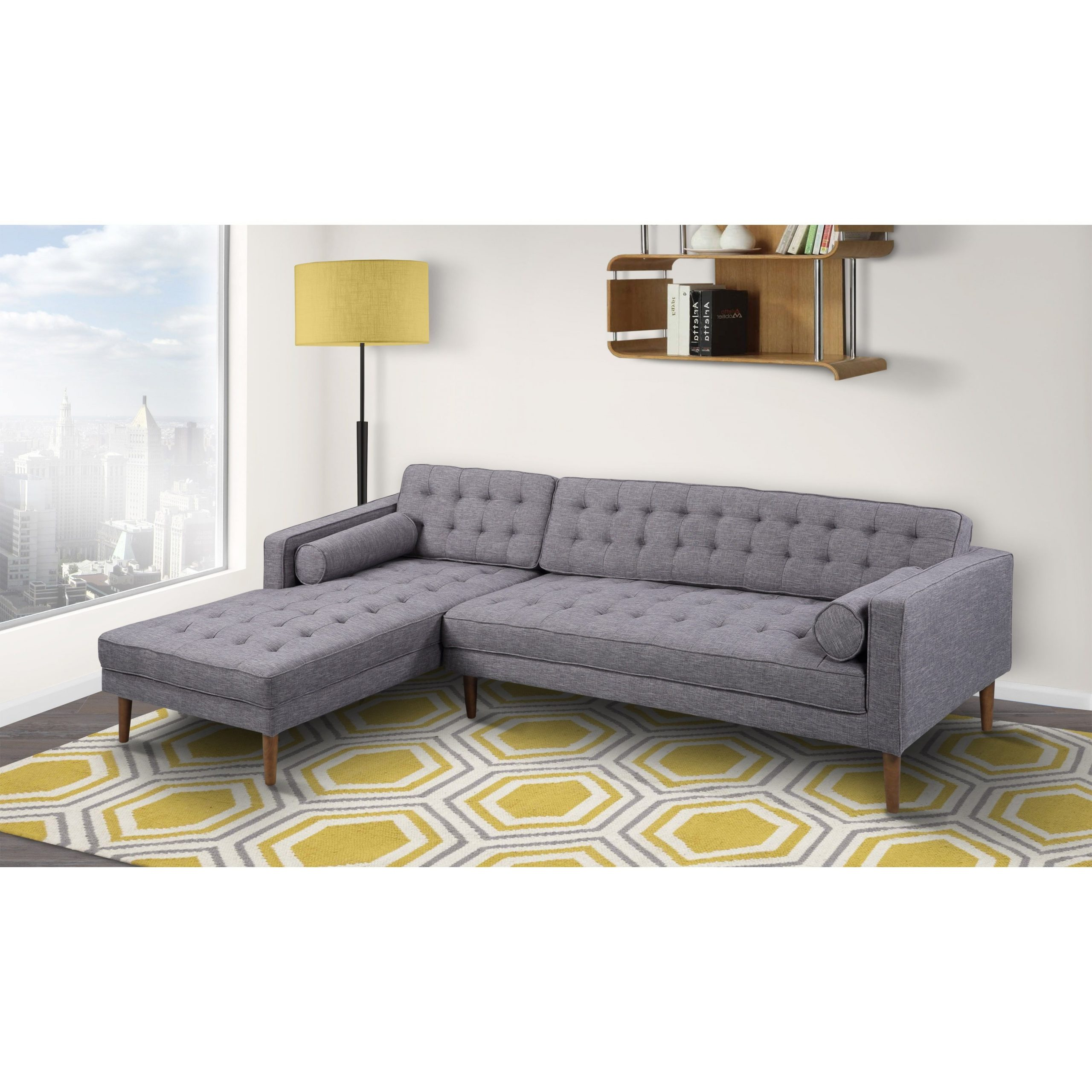 Well Known Element Left Side Chaise Sectional Sofas In Dark Gray Linen And Walnut Legs Intended For Armen Living Element Tufted Dark Grey Linen Sectional Sofa (View 3 of 20)