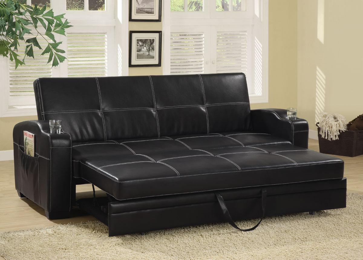 Well Known Faux Leather Sofa Bed With Storage And Cup Holders From For Liberty Sectional Futon Sofas With Storage (View 5 of 20)