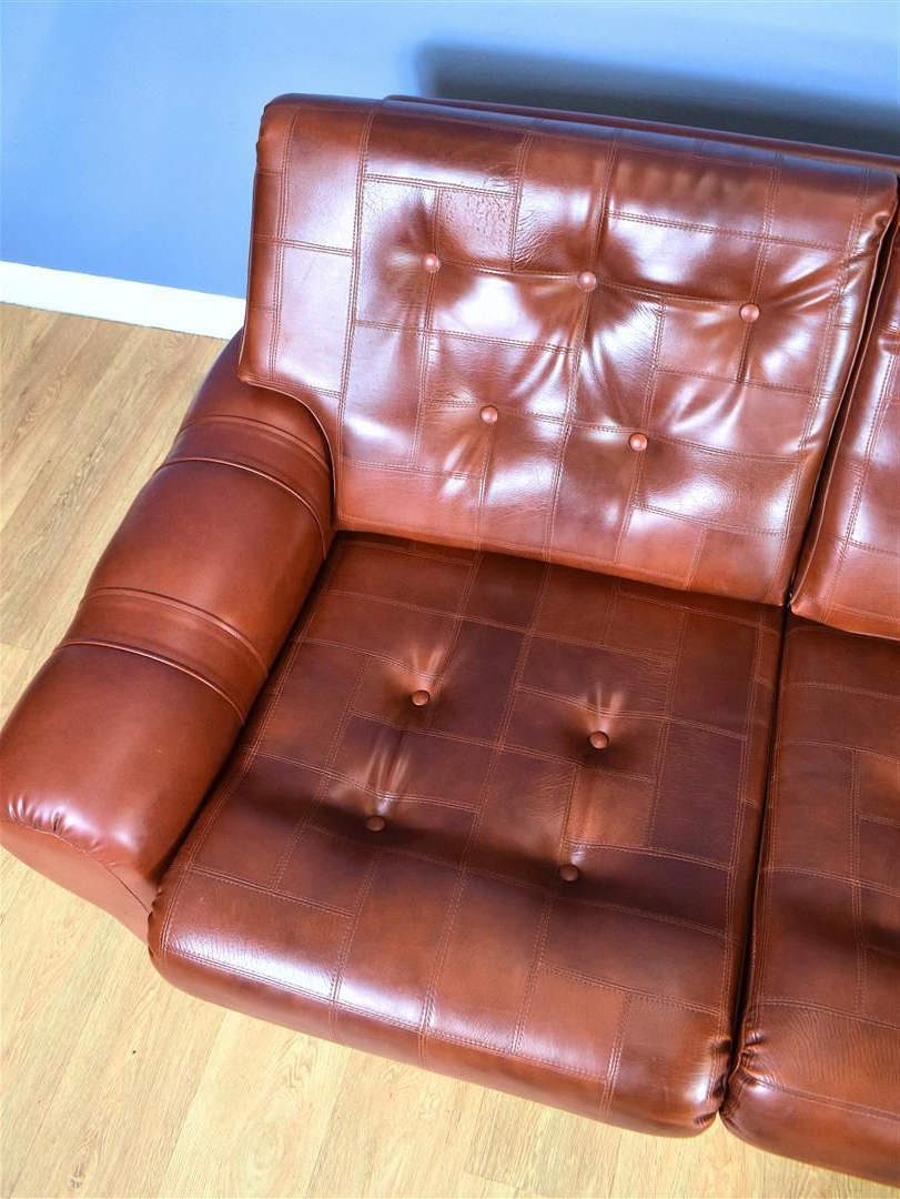 Well Known Florence Mid Century Modern Right Sectional Sofas Cognac Tan With Vintage 3 Seater Sofa In Cognac Brown Faux Leather Danish (View 11 of 20)