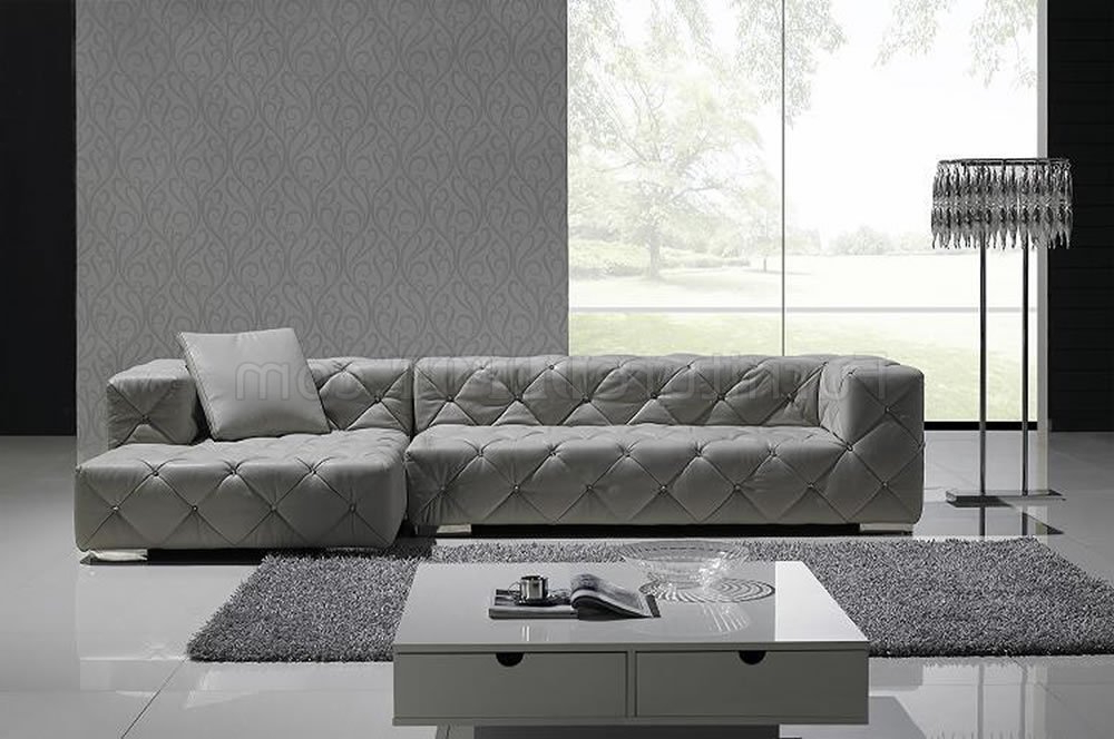 Well Known Grey Full Italian Leather Modern Sectional Sofa W/crystals Intended For Noa Sectional Sofas With Ottoman Gray (View 7 of 20)