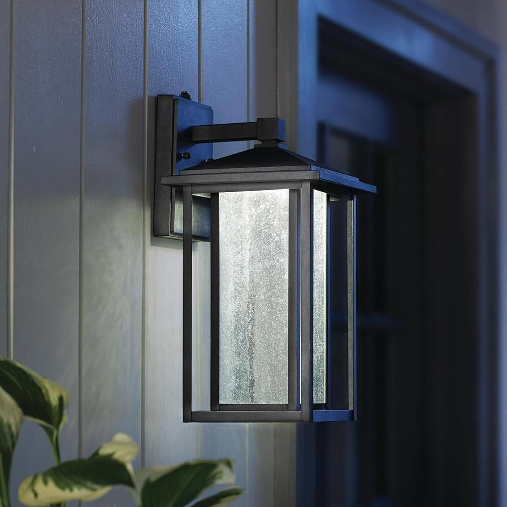 Well Known Home Decorators Collection Black Medium Outdoor Seeded Throughout Cherryville Black Seeded Glass Outdoor Wall Lanterns (View 16 of 20)