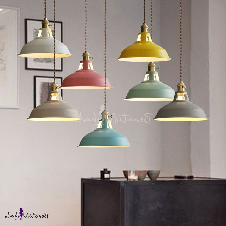 Well Known Industrial Hanging Pendant Light With Colorful Barn Shade With Oneal Outdoor Barn Lights (View 5 of 20)