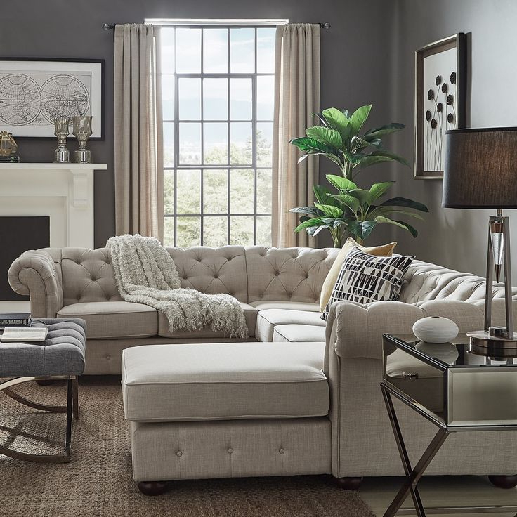 Well Known Knightsbridge Tufted Chesterfield U Shape Sectional With Regarding Artisan Beige Sofas (View 3 of 20)