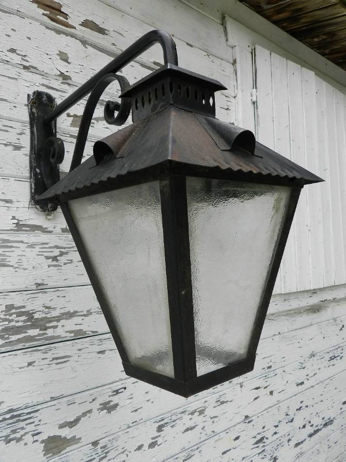 Well Known Meunier Glass Outdoor Wall Lanterns Throughout Antique Large Pair Of Exterior Wall Lights Wrought Iron (View 5 of 20)