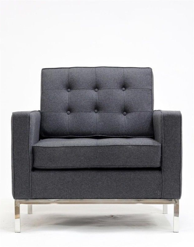 Well Known Mid Century Modern Danish 1 Seat Florence Sofa Lc2 Gray Intended For Florence Mid Century Modern Velvet Left Sectional Sofas (View 13 of 20)
