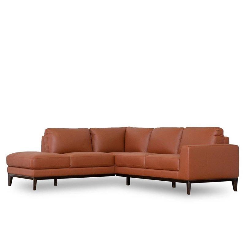 Well Known Mid Century Modern Milton Orange Leather Sectional Sofa Regarding Florence Mid Century Modern Right Sectional Sofas (View 2 of 20)