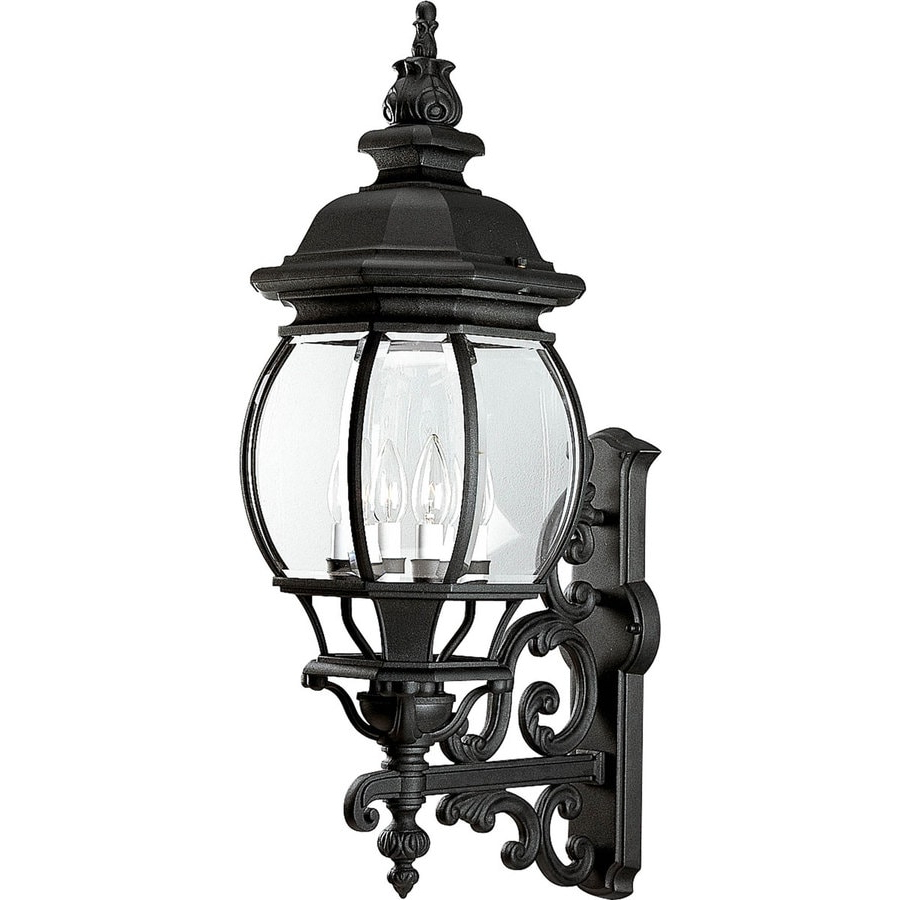 Well Known Progress Lighting Onion Lantern 31 In H Textured Black With Vendramin Black Glass Outdoor Wall Lanterns (View 13 of 20)