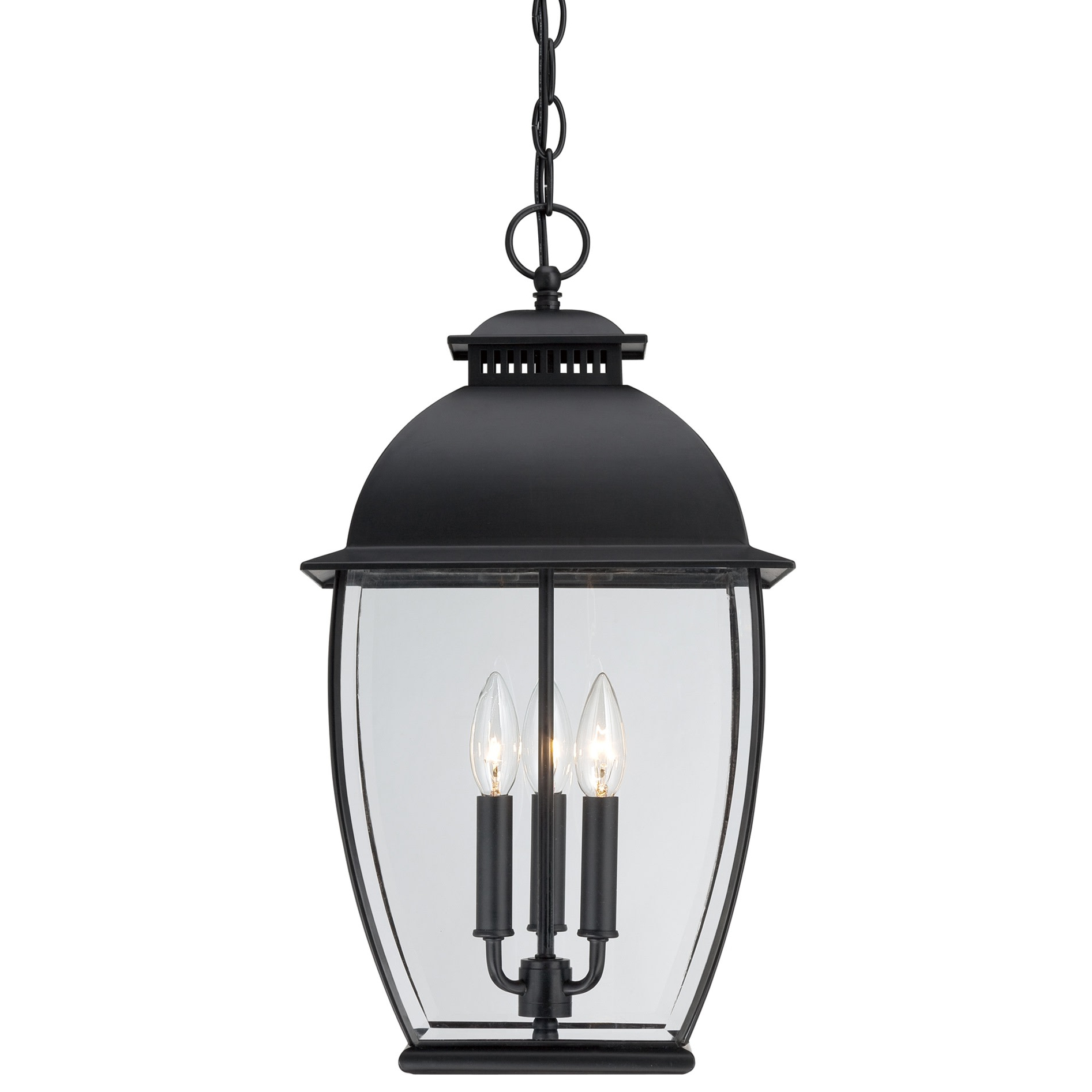 """Well Known Roden Black 3 Bulb Outdoor Wall Lanterns In Quoizel Ban1911 Black Bain 3 Light 12""""w Outdoor Pendant (View 9 of 20)"""