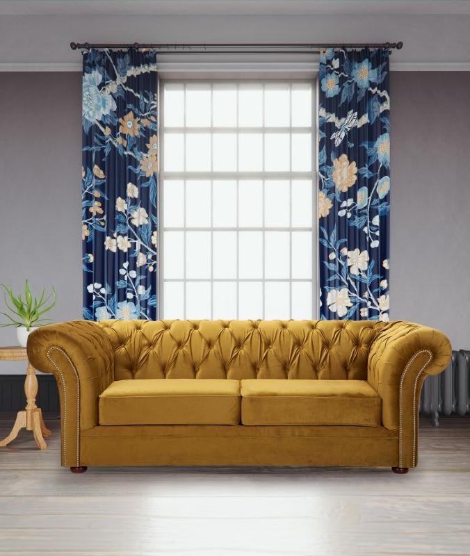 Well Known Strummer Velvet Sectional Sofas Pertaining To Velvet Fabric Chesterfield Mustard Gold 3 Seater Nelson Sofa (View 20 of 20)