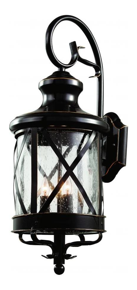 Well Known Tangier Dark Bronze Wall Lanterns Intended For Trans Globe Four Light Rubbed Oil Bronze Clear Seeded (View 15 of 20)