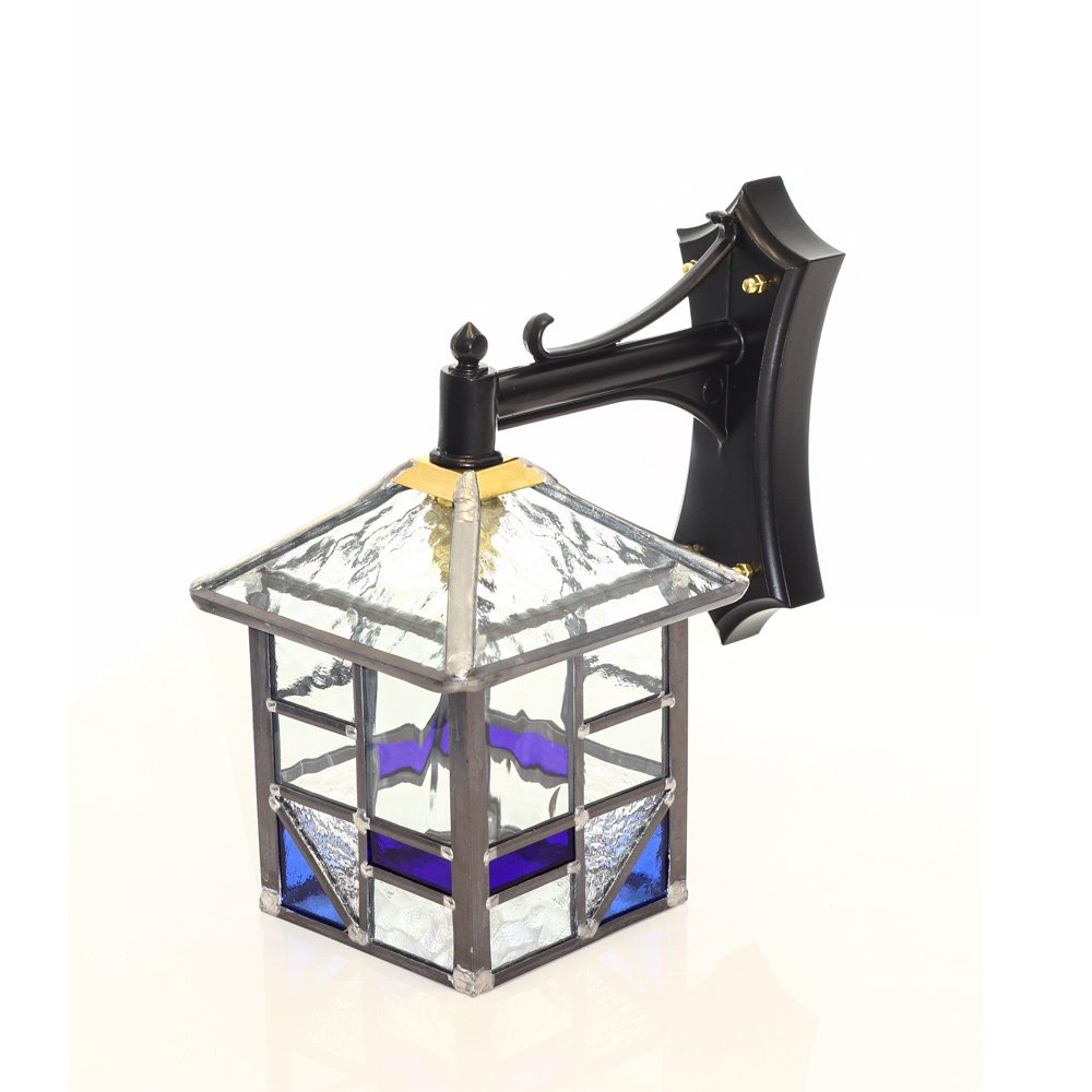 Well Known Traditional Outdoor Wall Lantern With Blue And Clear Glass With Regard To Faunce Beveled Glass Outdoor Wall Lanterns (View 16 of 20)