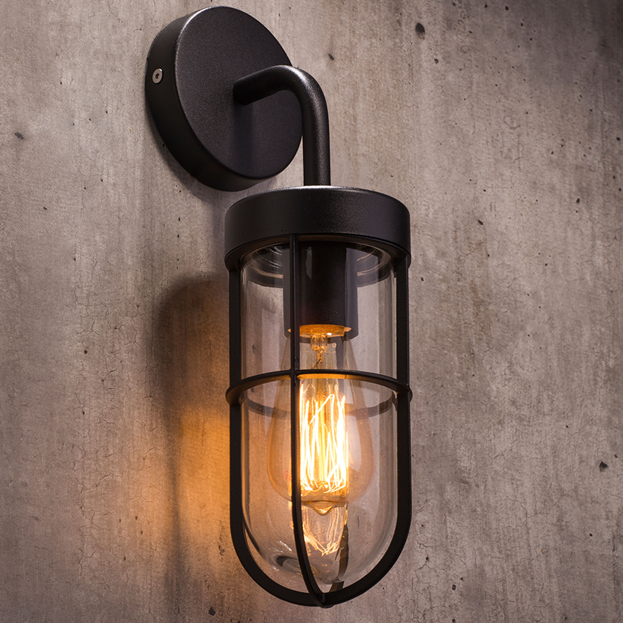 Well Known Vendramin Black Glass Outdoor Wall Lanterns Regarding Zinc Woking Caged Outdoor Wall Lantern – Black (View 11 of 20)