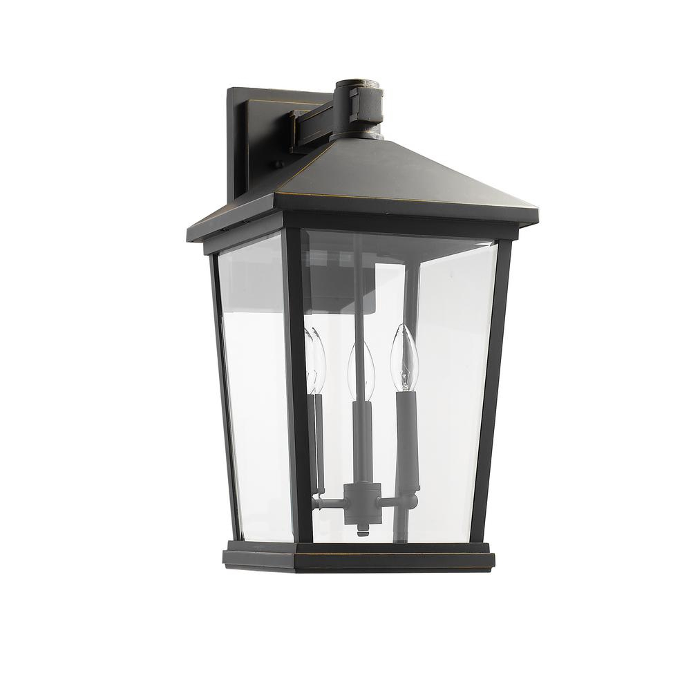 Well Known Verne Oil Rubbed Bronze Beveled Glass Outdoor Wall Lanterns Pertaining To Filament Design 3 Light Oil Rubbed Bronze Outdoor Wall (View 16 of 20)