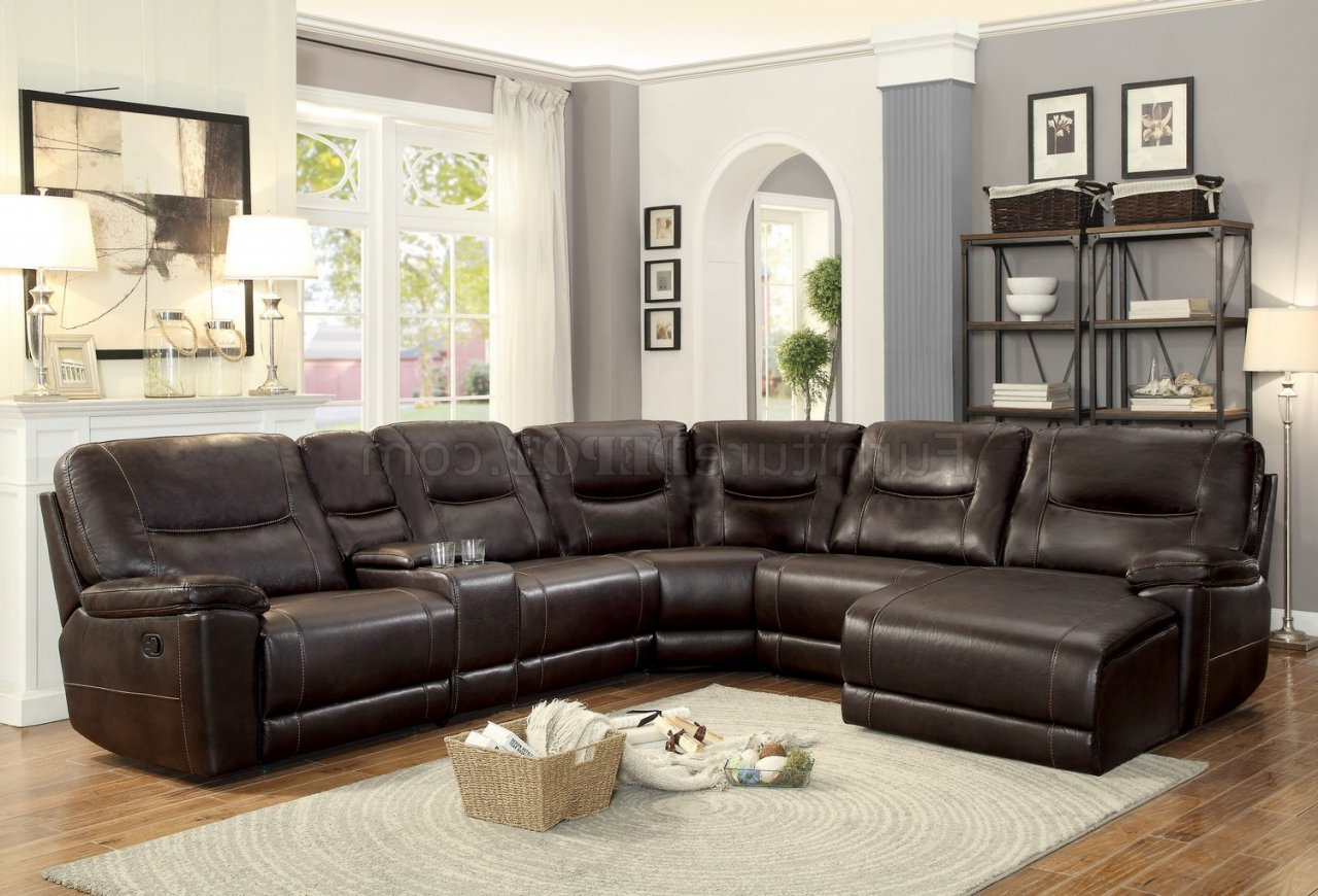 Well Liked 3pc Faux Leather Sectional Sofas Brown Throughout Columbus Motion Sectional Sofa 8490 6lcrrhomelegance (View 17 of 20)