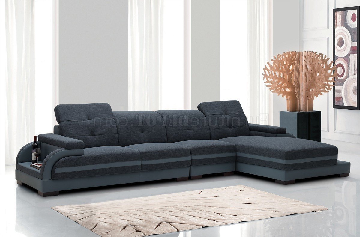 Well Liked 5132 Sectional Sofa In Blue Fabric & Grey Bonded Leather For Molnar Upholstered Sectional Sofas Blue/gray (View 3 of 20)