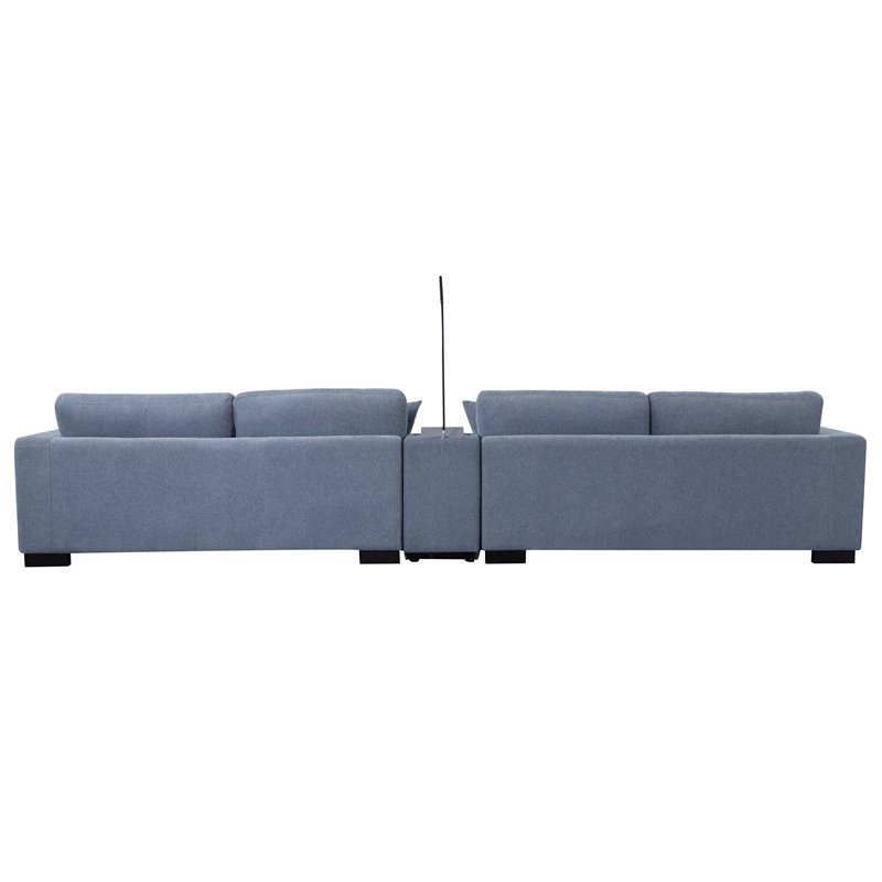 Well Liked Brayson Chaise Sectional Sofas Dusty Blue With Qiana Sectional Sofa With Pillows In Dusty Blue Fabric –  (View 9 of 20)