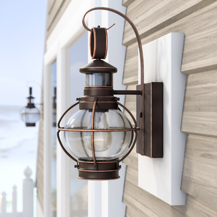 Well Liked Brook Black Seeded Glass Outdoor Wall Lanterns With Dusk To Dawn Regarding Sand & Stable Sutton  (View 3 of 20)