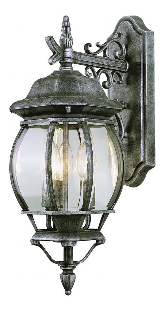Well Liked Carrington Beveled Glass Outdoor Wall Lanterns For Trans Globe Three Light Rust Clear Beveled Glass Wall (View 18 of 20)