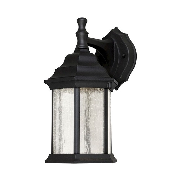 Well Liked Chelston Seeded Glass Outdoor Wall Lanterns Within Shop Black Outdoor Wall Lantern With Clear Seeded Glass (View 12 of 20)