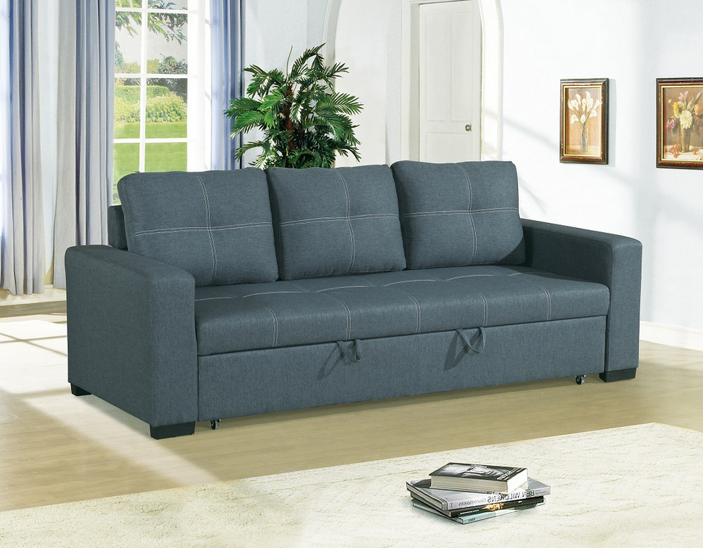 Well Liked Dionisia Blue Grey Linen Like Fabric Convertible Sofa Within Polyfiber Linen Fabric Sectional Sofas Dark Gray (View 5 of 20)