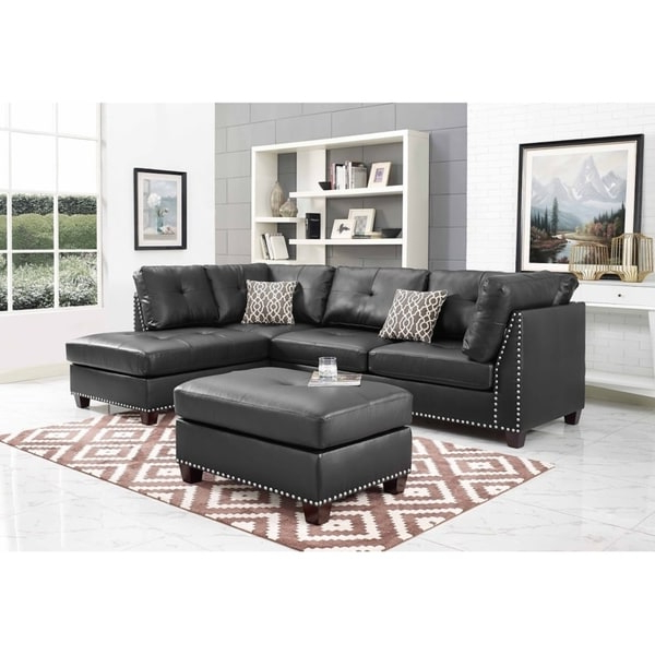 Well Liked Discontinued: Black Faux Leather Sectional Sofa And Regarding Monet Right Facing Sectional Sofas (View 9 of 20)