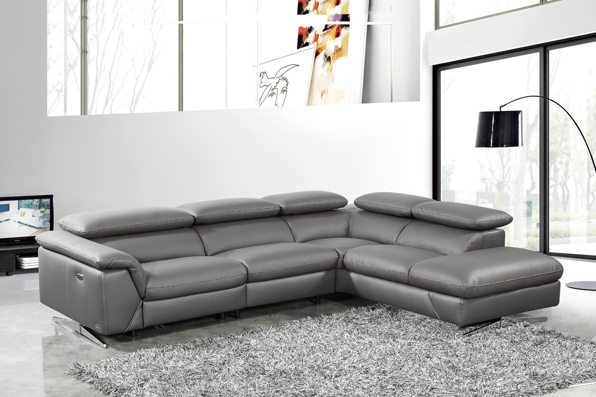 Well Liked Divani Casa Maine – Modern Dark Grey Eco Leather Left With Regard To Dove Mid Century Sectional Sofas Dark Blue (View 4 of 20)