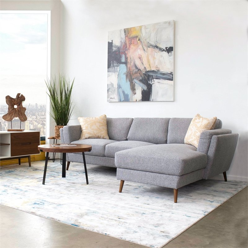 Well Liked Dulce Mid Century Chaise Sofas Light Gray Regarding Mid Century Modern Sadie Gray Sectional Sofa (left Chaise (View 14 of 20)
