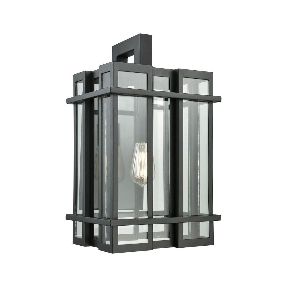 Well Liked Elk Lighting Glass Tower Matte Black Outdoor Wall Light With Regard To Mccay Matte Black Outdoor Wall Lanterns (View 13 of 20)