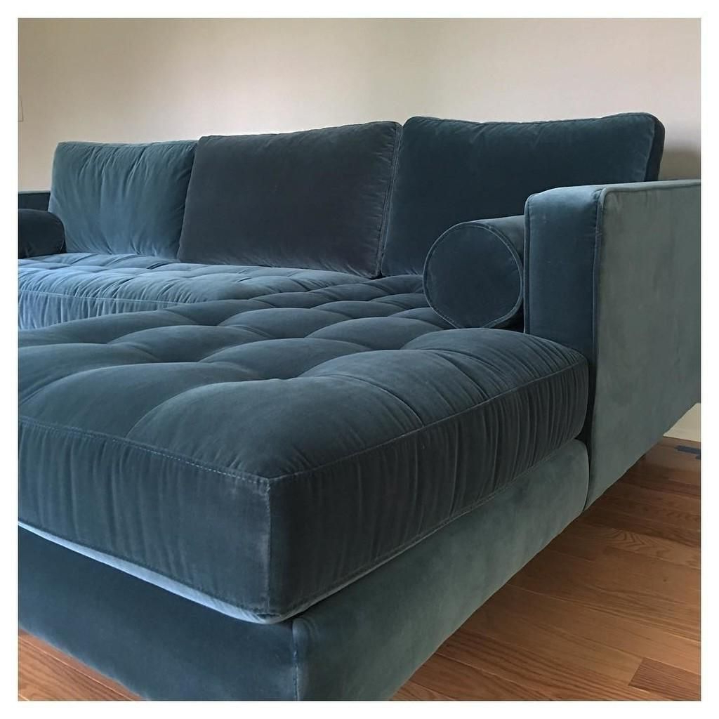 Well Liked Florence Mid Century Modern Velvet Right Sectional Sofas With Sven Cascadia Blue Right Sectional Sofa (View 6 of 20)