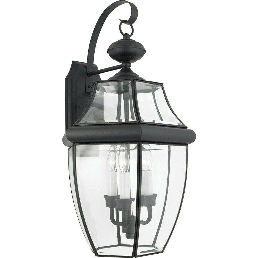 Well Liked Garneau Black Wall Lanterns Regarding Quoizel 3 Light Newbury Outdoor Wall Lanterns, Mystic (View 3 of 20)