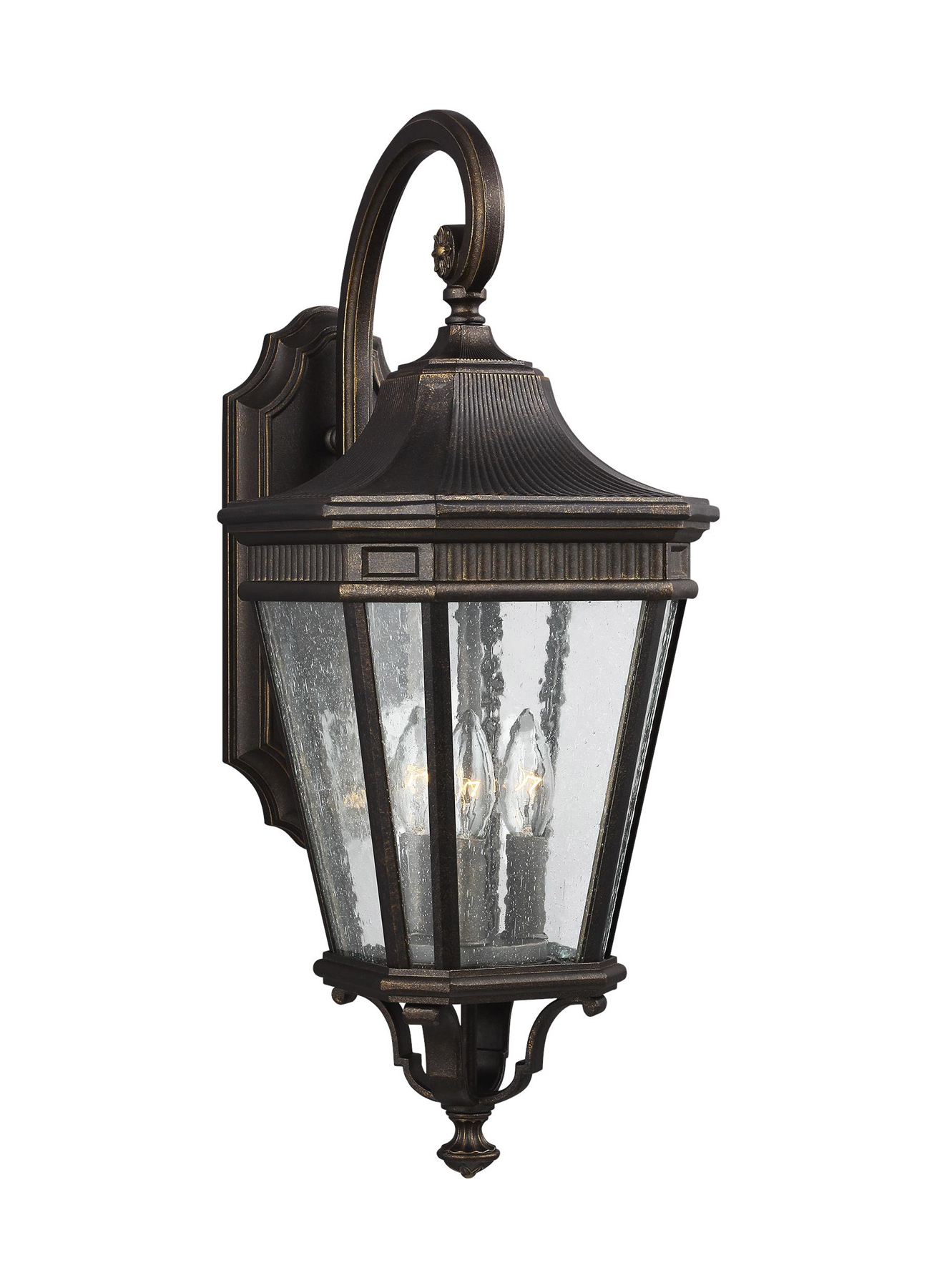Well Liked Gillian 3 – Bulb Beveled Glass Outdoor Wall Lanterns With Regard To Feiss Ol5422gbz Cotswold Lane 3 – Light Outdoor Wall Lantern (View 12 of 20)