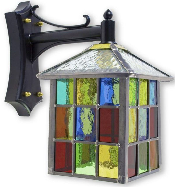 Well Liked Gillian Beveled Glass Outdoor Wall Lanterns Pertaining To Lynmouth Multi Coloured Stained Glass Square Outdoor Wall (View 18 of 20)