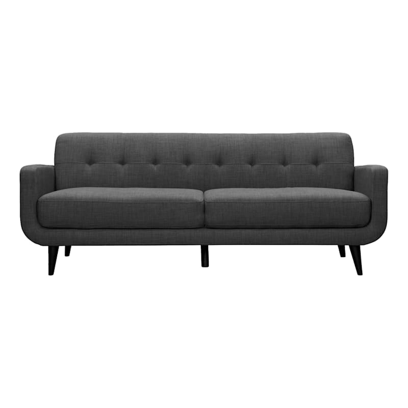 """Well Liked Hadley Charcoal Grey Tufted Back Sofa, 85"""" (View 10 of 20)"""