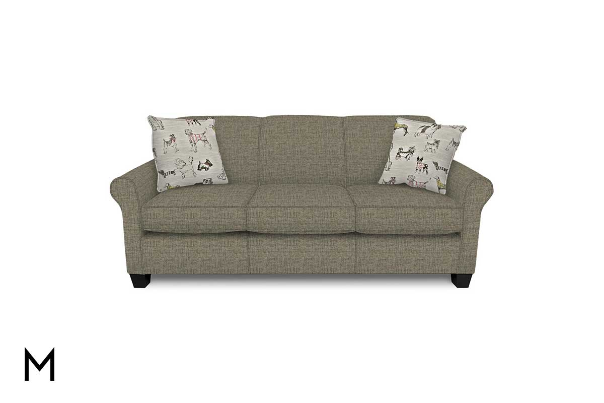 Well Liked Hadley Small Space Sectional Futon Sofas Within Angie Sofa In Hadley Gray (View 9 of 20)