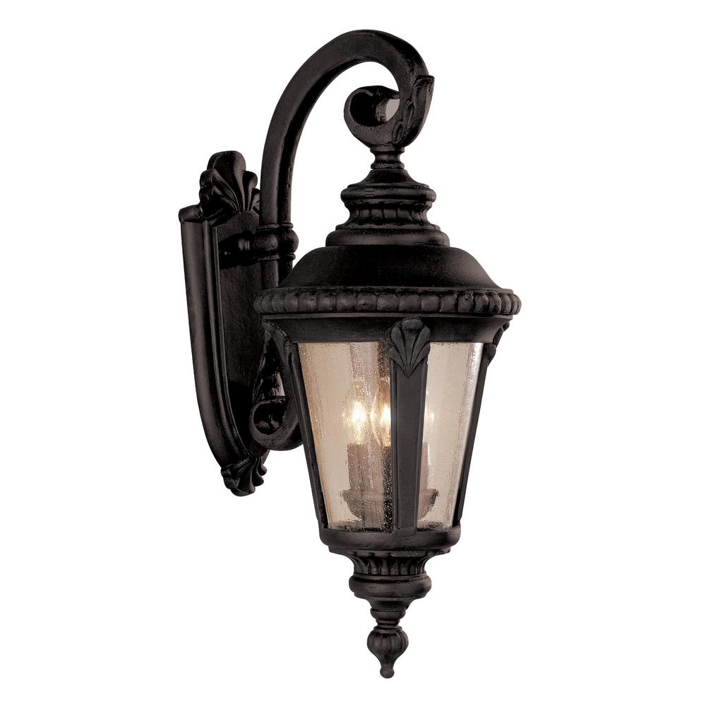 Well Liked Hampton Bay 3 Light Black Outdoor Wall Mount Lantern For Clarence Black Outdoor Wall Lanterns (View 3 of 20)