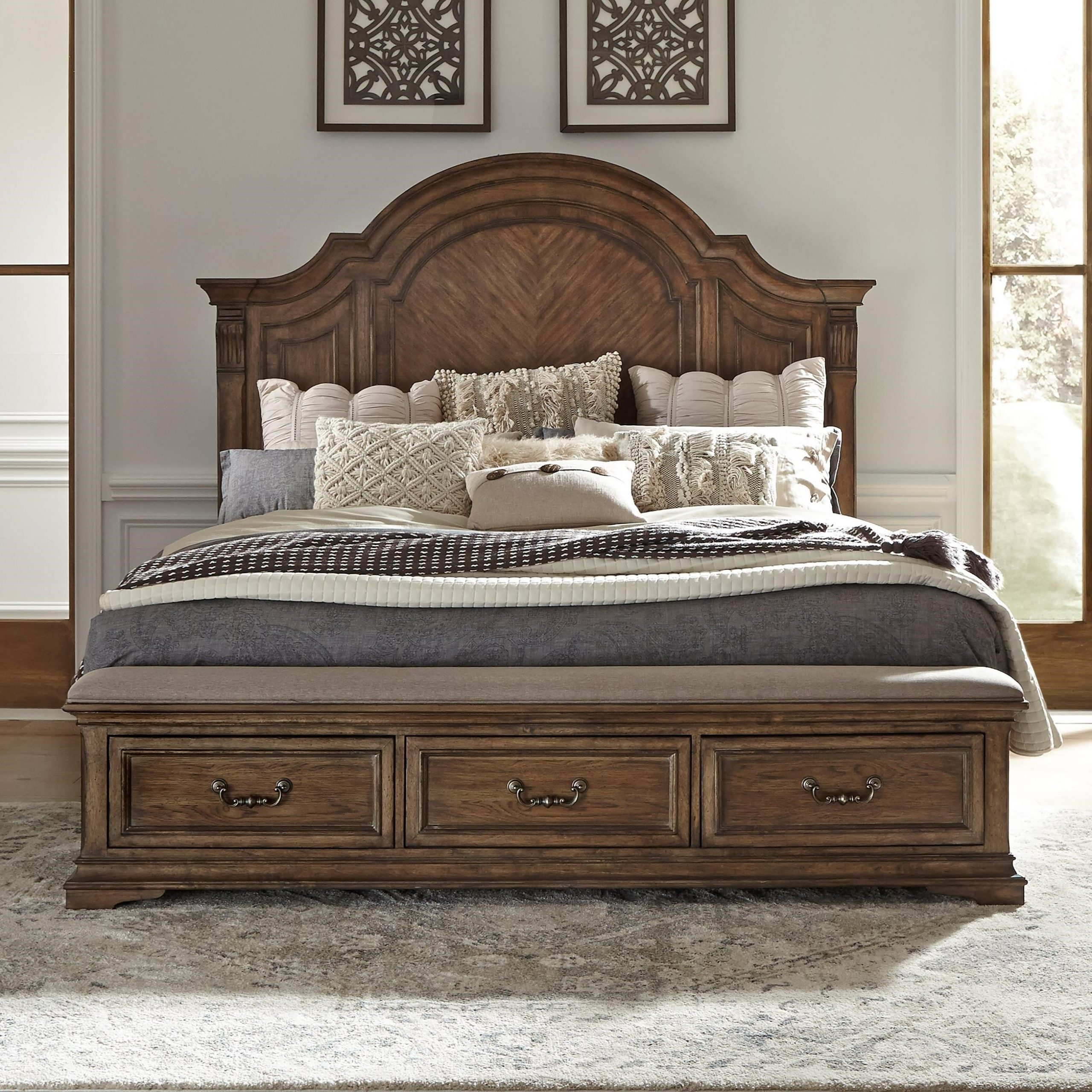 Well Liked Liberty Furniture Haven Hall Traditional Queen Storage Bed Intended For Liberty Sectional Futon Sofas With Storage (View 3 of 20)